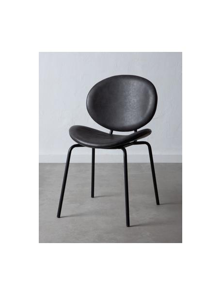 Krzesło tapicerowane ze sztucznej skóry Frankie, Tapicerka: sztuczna skóra (poliureta, Stelaż: polipropylen, Nogi: metal, Ciemnyszary, czarny, S 53 x G 50 cm
