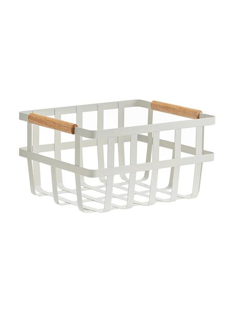 Aufbewahrungskorb Nimbdu, Korb: Metall, lackiert, Griffe: Bambus, Weiß, 32 x 18 cm