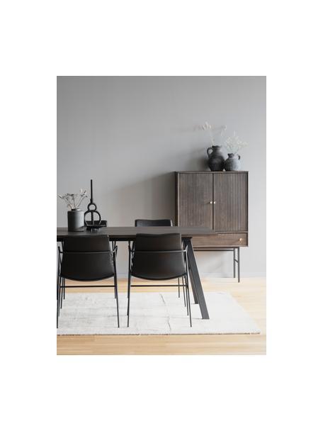 Dressoir Clearbrook met deuren, Frame: MDF met eikenhoutfineer, Poten: gepoedercoat metaal, Bruin, zwart, 79 x 125 cm