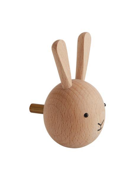 Gancio appendiabiti da parete Rabbit in legno di faggio, Legno di faggio, Legno, nero, Larg. 5 x Alt. 8 cm