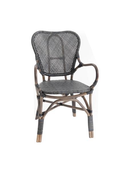 Sedia impilabile da giardino in rattan Xyli, Struttura: rattan verniciato, Nero, Larg. 62 x Prof. 54 cm