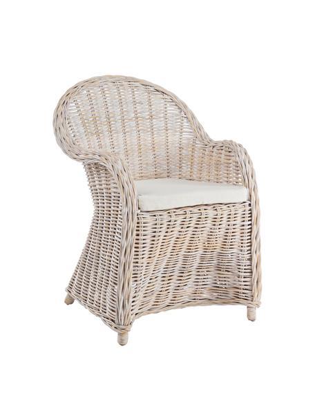 Rotan armstoel Martin met stoelkussen, Bekleding: katoen, Rotankleurig, wit, 60 x 67 cm