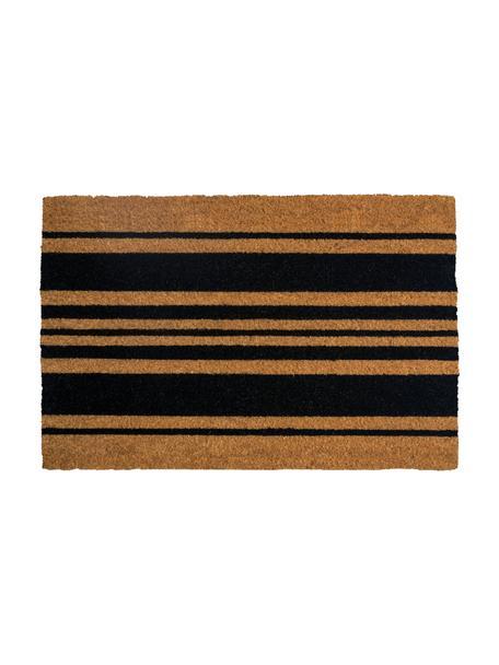 Fußmatte Bold Stripes, Kokosfaser, Schwarz, Beige, 45 x 75 cm