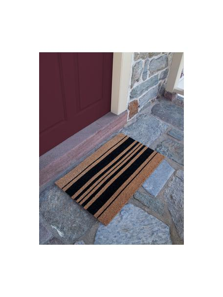 Felpudo Bold Stripes, Fibras de coco, Negro, beige, An 45 x L 75 cm