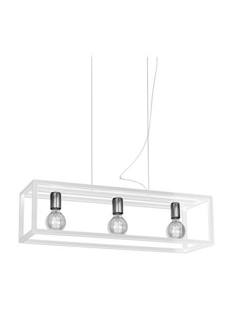 Grote hanglamp Cohen in wit, Fitting: gecoat metaal, Baldakijn: gecoat metaal, Wit, zilverkleurig, B 85 x D 29 cm