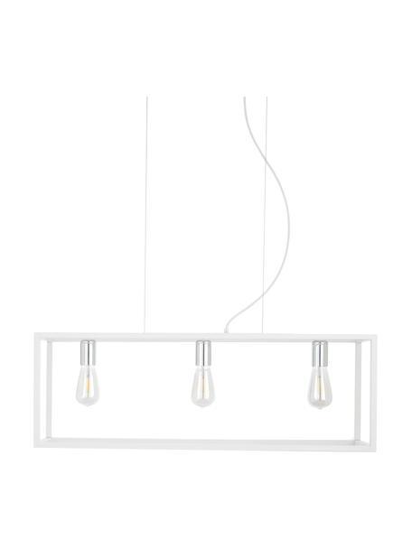 Lampada a sospensione bianca Cage, Baldacchino: metallo rivestito, Bianco, argentato, Larg. 85 x Prof. 29 cm