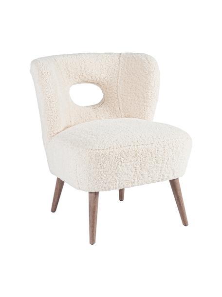 Teddy-Loungesessel Cortina, Sitzfläche: Polyester, Gestell: Tannenholz, Beine: Gummibaumholz, Cremefarben, B 65 x T 68 cm