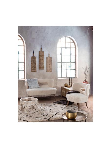 Sillón de borreguillo Cortina, Asiento: poliéster, Estructura: madera de abeto, Patas: madera de caucho, Crema, An 65 x F 68 cm