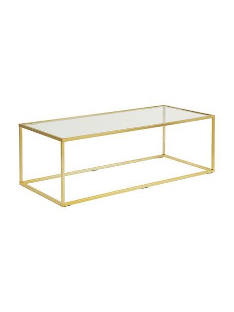 Stolik kawowy ze szklanym blatem Maya, Blat: szkło hartowane, Stelaż: metal galwanizowany, Blat: szkło, transparentny Stelaż: odcienie złotego, błyszczący, S 110 x W 36 cm