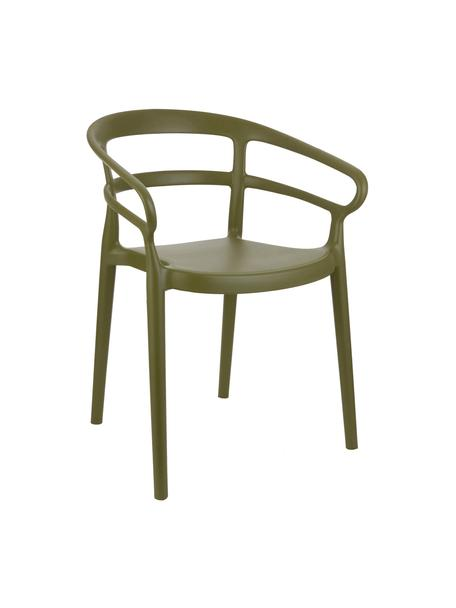 Krzesło z tworzywa sztucznego z podłokietnikami Rodi, 2 szt., Polipropylen, Zielony, S 52 x G 57 cm