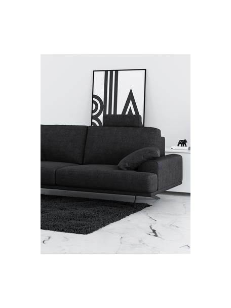 Divano 2 posti in tessuto grigio scuro Prado, Rivestimento: poliestere, Sottostruttura: compensato, legno di betu, Piedini: metallo, verniciato, Grigio scuro, Larg. 220 x Alt. 107 cm