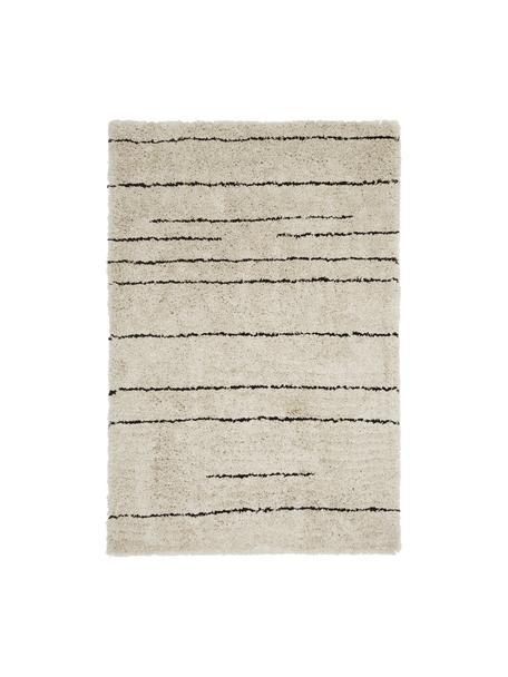 Flauschiger Hochflor-Teppich Dunya, handgetuftet, Flor: 100% Polyester, Beige, Schwarz, B 120 x L 180 cm (Größe S)