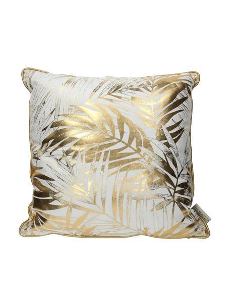 Poduszka z aksamitu z wypełnieniem Leafs, Biały, odcienie złotego, S 45 x D 45 cm