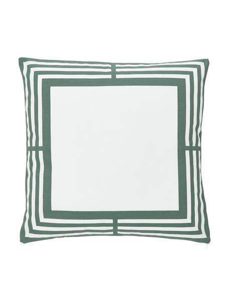 Federa arredo in cotone verde salvia/bianco con motivo grafico Zahra, 100% cotone, Bianco, verde salvia, Larg. 45 x Lung. 45 cm