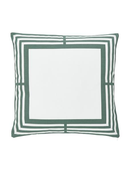 Poszewka na poduszkę Frame, 100% bawełna, Biały, zielony, S 45 x D 45 cm
