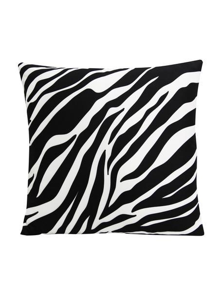 Kussenhoes Pattern met zebra print in zwart/wit, 100% polyester, Wit, zwart, 45 x 45 cm