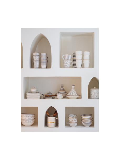 Handgemachtes marokkanisches Schälchen Moyen mit Goldrand, Ø 15 cm, Keramik, Hellgrau, Cremefarben, Gold, Ø 15 x H 9 cm