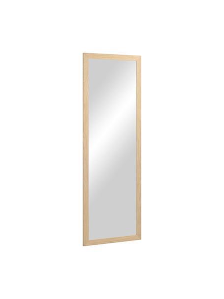 Eckiger Wandspiegel Wilany mit beigem Holzrahmen, Rahmen: Holz, Spiegelfläche: Spiegelglas, Beige, 53 x 153 cm