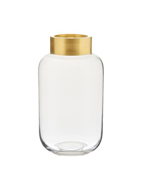 Vase Lori, Vase: Glas, Vase: Transparent Sockel: Goldfarben, matt, Ø 16 x H 29 cm