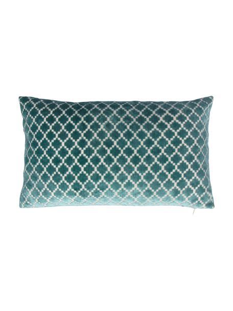 Gemusterte Samt-Kissenhülle Calista in Blau, 60% Polyester, 40% Viskose, Marineblau, Gebrochenes Weiß, 30 x 50 cm