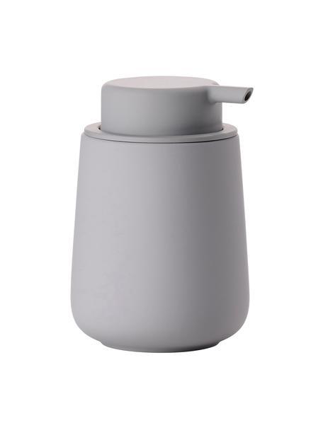 Dosificador de jabón Nova One, Recipiente: porcelana, Dosificador: plástico, Gris, Ø 8 x Al 12 cm