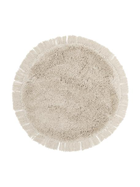 Okrągły puszysty dywan z wysokim stosem z frędzlami Dreamy, Kremowy, Ø 120 cm (Rozmiar S)