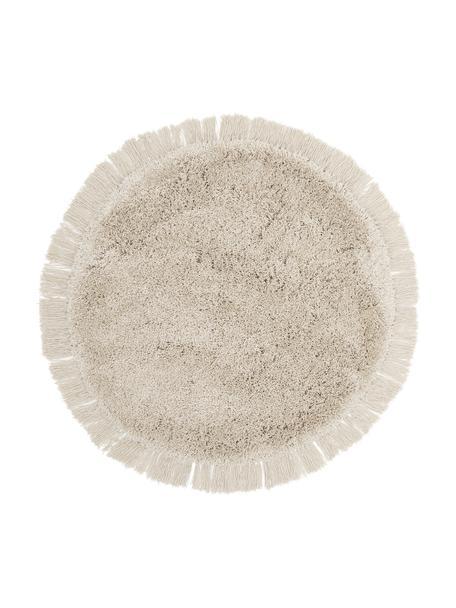 Tappeto a pelo lungo e soffice con frange Dreamy, Retro: 100% cotone, Crema, Ø 120 cm (taglia S)