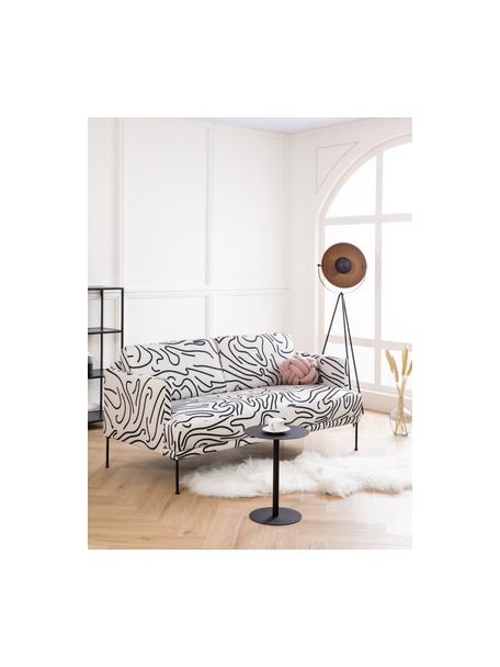 Bank met patroon Fluente (2-zits), Bekleding: 100% polyester, Frame: massief grenenhout, Poten: gepoedercoat metaal, Geweven stof wit, B 166 x D 85 cm
