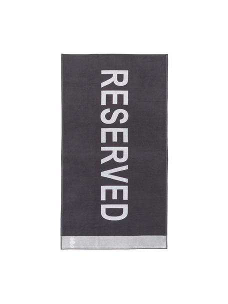 Strandtuch Reserved, Vorderseite: 100% Velour (Baumwolle), Rückseite: Frottee (Baumwolle) Mitte, Violett-Schwarz, Weiss, Grau, 100 x 180 cm