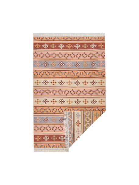 Dubbelzijdig Kelim vloerkleed Kaveri van katoen, 100% katoen, Beige, multicolour, B 70 x L 140 cm (maat XS)