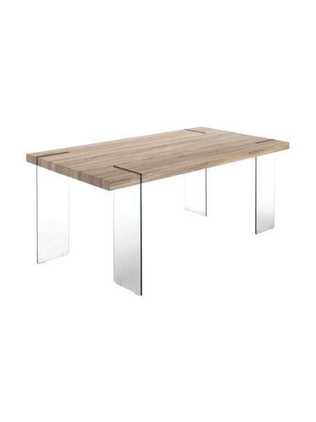 Mesa de comedor Waver, Vidrio templado Tablero de fibras de densidad media (MDF) chapado en madera de roble, Transparente, beige, An 180 x Al 75 cm