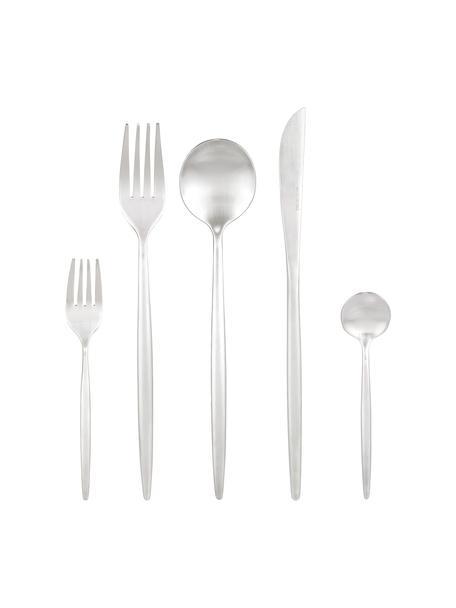 Silberfarbenes Besteck-Set Kaylah aus Edelstahl, in verschiedenen Setgrößen, Messer: Edelstahl 13/0, Silber, 1 Person (5-tlg.)