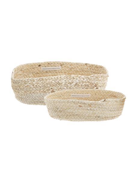 Set 2 cestini per pane fatti a mano in foglie di mais Corinna, Foglie di mais intrecciate, Beige chiaro, Set in varie misure