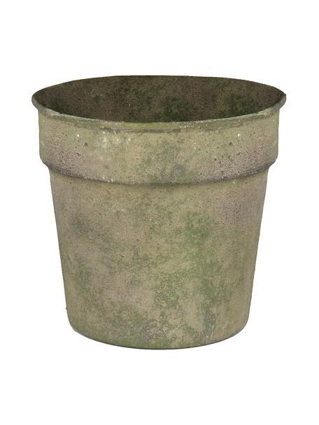 Mała osłonka na doniczkę Antique, Stal powlekana, Zielony, beżowy, Ø 13 x W 11 cm