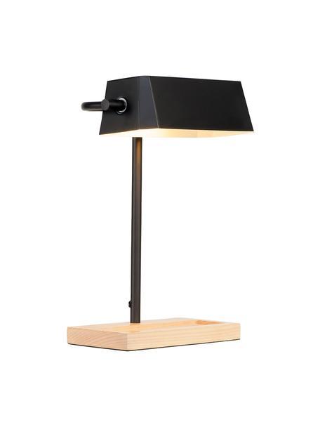 Skandi-Schreibtischlampe Cambridge mit Stiftablage, Lampenschirm: Metall, lackiert, Lampenfuß: Buchenholz, Schwarz, Hellbraun, 25 x 40 cm