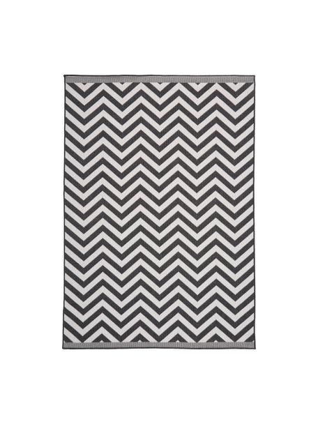 Dwustronny dywan wewnętrzny/zewnętrzny Palma, 100% polipropylen, Czarny, kremowy, S 80 x D 150 cm (Rozmiar XS)