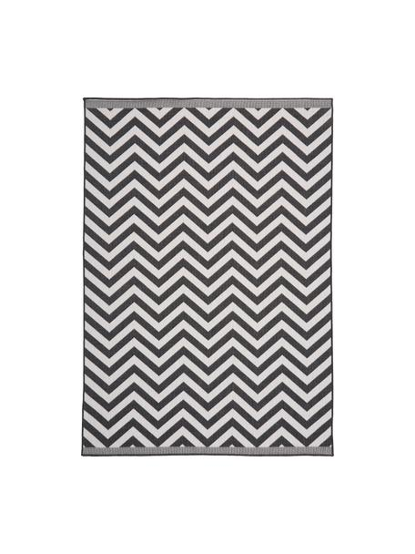 In- & Outdoor-Teppich Palma mit Zickzack-Muster, beidseitig verwendbar, 100% Polypropylen, Schwarz, Creme, B 80 x L 150 cm (Grösse XS)