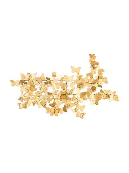 Dekoracja ścienna z metalu Butterfly, Metal, Odcienie złotego, S 104 x W 62 cm