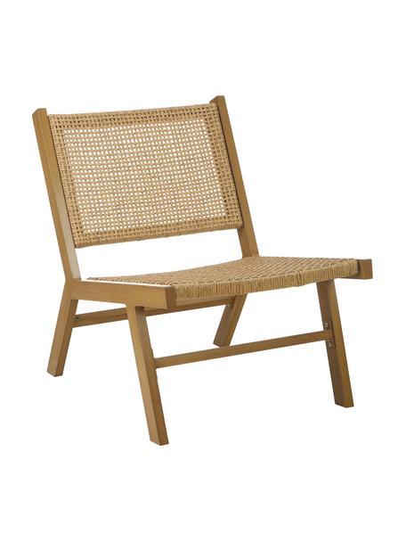 Fotel ogrodowy ze splotem z tworzywa sztucznego Palina, Stelaż: metal malowany proszkowo, Brązowy, S 57 x G 78 cm