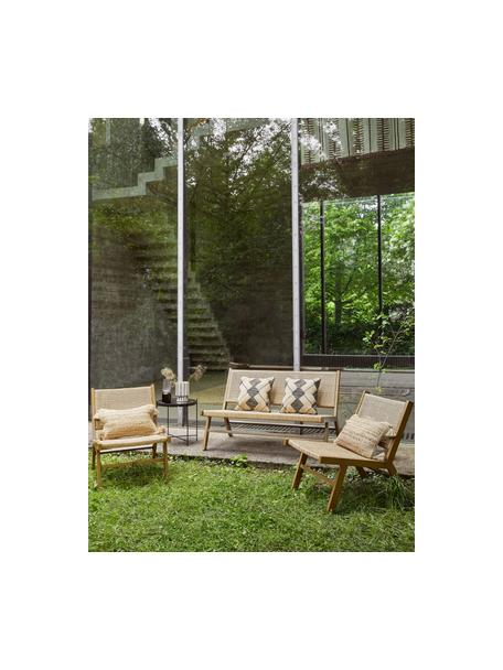 Tuin loungefauteuil Palina met kunststoffen vlechtwerk in houtoptiek, Frame: gepoedercoat metaal, Zitvlak: kunststoffen vlechtwerk, Bruin, 57 x 78 cm