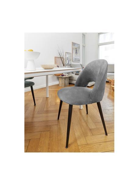 Fluwelen stoel Rachel  in donkergrijs, Bekleding: fluweel (hoogwaardig poly, Poten: gepoedercoat metaal, Fluweel staalgrijs, B 53 x D 57 cm