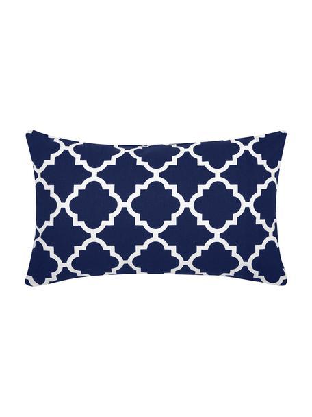 Funda de cojín Lana, 100%algodón, Azul marino, blanco, An 30 x L 50 cm