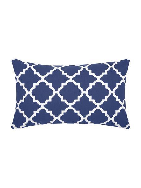 Kissenhülle Lana mit grafischem Muster, 100% Baumwolle, Marineblau, Weiß, 30 x 50 cm