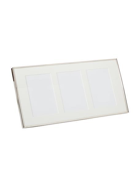 Bilderrahmen Eva, Rahmen: Metall, Front: Glas, Rückseite: Mitteldichte Faserplatte , Silberfarben, Für 3 Bilder 10 x 15 cm