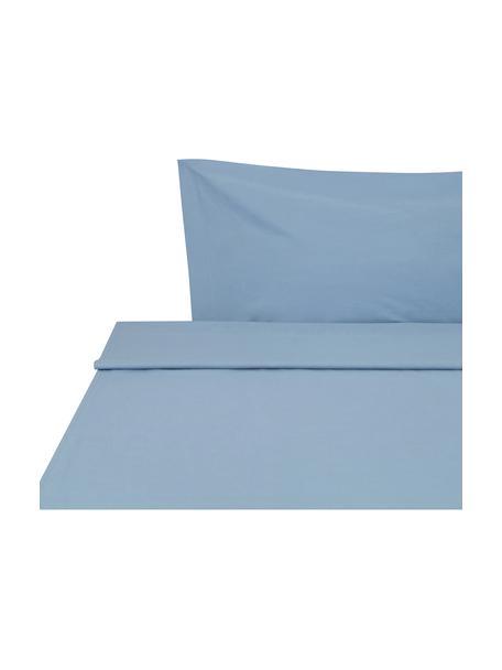 Sábana encimera Plain Dye, Algodón El algodón da una sensación agradable y suave en la piel, absorbe bien la humedad y es adecuado para personas alérgicas, Azul vaquero, Cama 90 cm (155 x 280 cm)