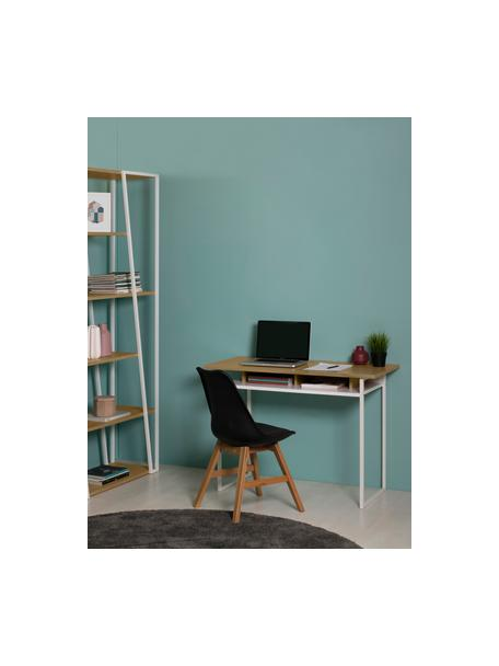 Weisser Schreibtisch Bristol, Korpus: Mitteldichte Holzfaserpla, Beine: Metall, lackiert, Eichenholz, Weiss, 110 x 78 cm