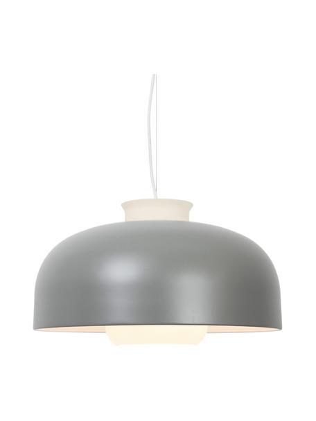 Retro hanglamp Miry, Lampenkap: gecoat metaal, Diffuser: glas, Baldakijn: metaal, Grijs, Ø 50  x H 28 cm