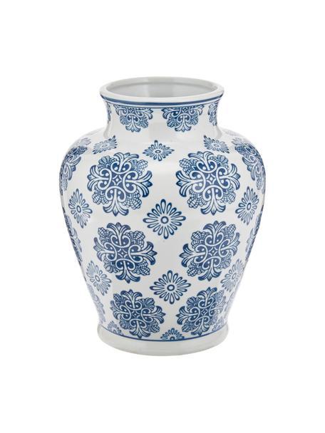 Vaso decorativo in porcellana Lin, Porcellana non impermeabile, Bianco, blu, Ø 21 x Alt. 28 cm