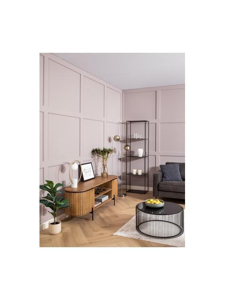 Tv-meubel Licia van massief mangohout met deuren, Frame: handgepolijst en gelakt m, Poten: gelakt metaal, Beige, zwart, 160 x 56 cm