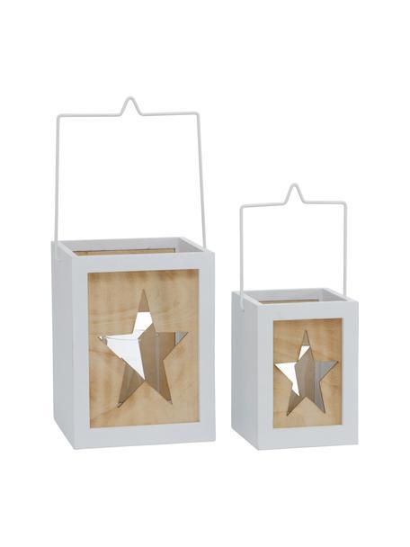 Komplet latarenek Jula, 2 elem., Stelaż: drewno naturalne, powleka, Biały, brązowy, Komplet z różnymi rozmiarami